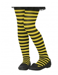 Stribede strømpebukser sort og gul- barn