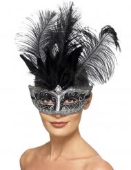 Columbine grå venetiske maske med fjer - voksen