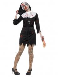 Zombie Kostume Nonne sort til kvinder