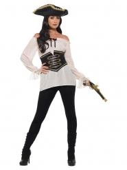 Råhvid pirat luksus skjorte til kvinder