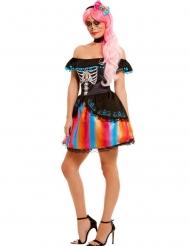 Dia de los Muertos Kostume farverig til kvinder
