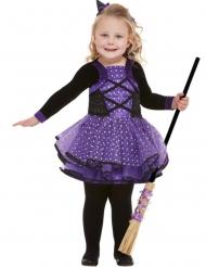Sød Heks Kostume lilla med stjerner til piger