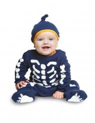 Skeletdragt blå til baby