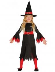 Hekse Kostume sort og rød til piger