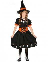 Sød Hekse Kostume med Hat sort og orange til piger