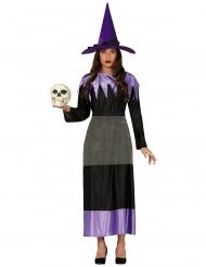 Hekse Kostume med Hat sort lilla til kvinder