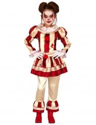 Skræmmende Klovn Kostume rød og hvid til piger