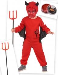 Kostume Kit Djævel rød til børn