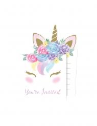 8 Invitationskort med kuverter eventyrlig enhjørning 10 x 15 cm