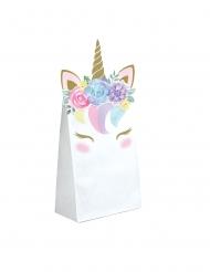 8 Gaveposer i papir eventyrlig enhjørning 11,4 x 20 cm