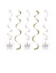 5 Spiral ophæng eventyrlig enhjørning 76 & 99 cm