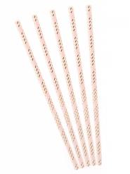 10 Sugerør metallisk lyserød/guld striber 19,5 cm