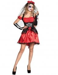 Dia de los Muertos kostume rød til kvinder