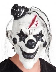 Psyko klovn latex maske sort hvid med hat