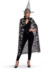 Hekse sæt hat og kappe sort og sølv til kvinder