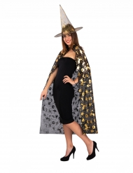 Hekse sæt hatte og kappe sort guld til kvinder