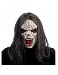 Vampyr latex maske med hår til voksne