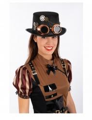 Steampunk tophat i filt med briller til voksne