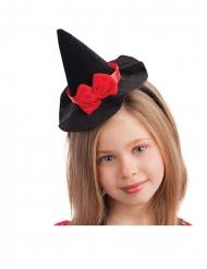 Hårbøjle med hekse mini-hat rød sløjfe 13 cm