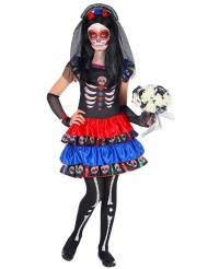 Dia de los Muertos kostume rød og blå til børn