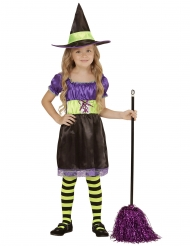 Hekse kostume sort og guld til piger