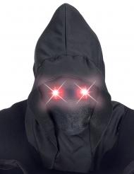 Fuldmaske med hætte og lysende røde øjne til voksne