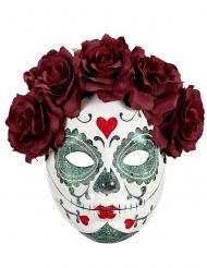 Dia de los Muertos maske bordeaux roser til voksne