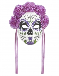 Dia de los Muertos maske lilla sløjfer til voksne