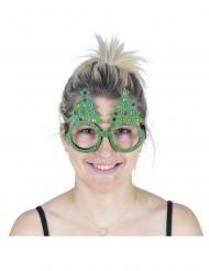 Juletræsbriller med glitter voksen