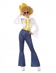 Disko kostume jeans og guld - kvinde