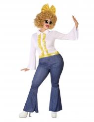 Disko kostume jeans og guld stor størrelse - Mand