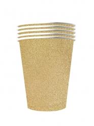10 Amerikanske kopper miljøvenlig karton 53 cl - guld glimmer