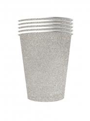 10 Amerikanske kopper miljøvenlig karton 53 cl - sølv glimmer