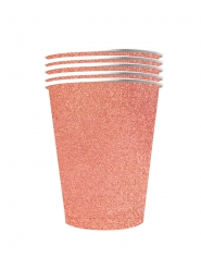 10 Amerikanske kopper miljøvenlig karton 53 cl - rosaguld glimmer