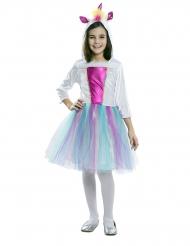 Enhjørninge kjole med hætte kostume pige