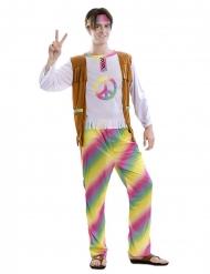 Regnbue hippie kostume - mand