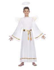 Engle kostume med guldebælte hvid barn
