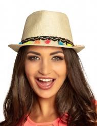 Borsalino hat med pomponer flerfarvet - voksen