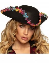 Pirat hat med farvede blomster - voksen