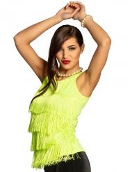 Tanktop med frynser neon grøn - kvinde