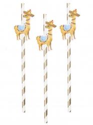 6 Sugerør i karton Lama hvid og guld 20 cm