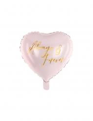 Aluminium hjerte Always & Forever lyserød/guld 45 cm