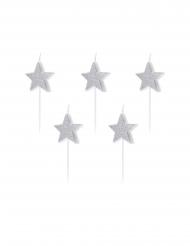 5 Fødselsdag stearinlys stjerne med glimmer sølv