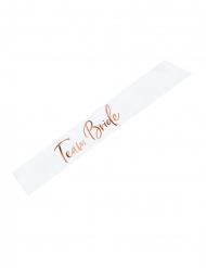 Satin bånd Team Bride hvid og rosaguld 75 cm