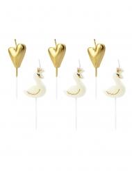 6 Stearinlys på pind Savne og hjerte guld 3,5 - 4 cm
