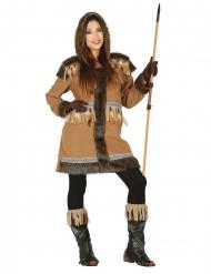 Eskimo kostume brun - kvinde