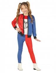 Harlekin kostume rød og blå - pige