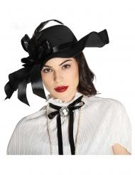 Sort hat med fjer - kvinde