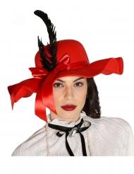 Rød hat med fjer - kvinde