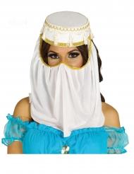 Orientalsk prinsesse hvid hovedbeklædning